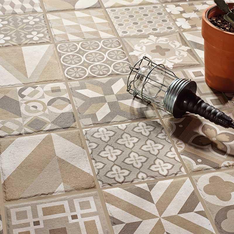 Suelo azulejo y pavimento Rocersa estilo hidráulico Make up