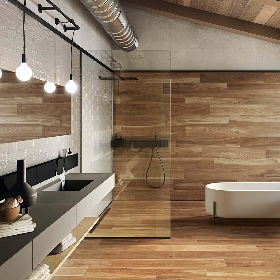 Azulejos de acabado en madera que aportan clase y calidez a tus espacios
