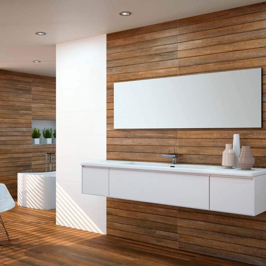 Azulejos con un diseño en color madera que aporta un toque de diseño inspirado en la naturaleza.
