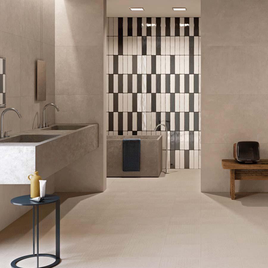 Azulejos y pavimentos creados con un elegante acabado en color cemento